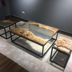 Natural Edge / Live Edge (Resin Coffee Table and Side Table) RCST-SM-119