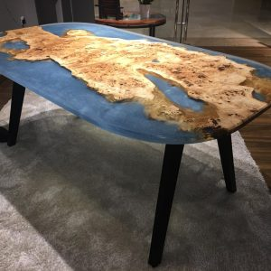 Natural Edge / Live Edge (Mappa Burl Resin Dining Table) RT-DM-180L